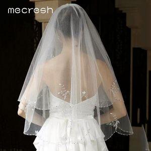 Image 4 - Mecresh dentelle florale mariée Mariage voiles femmes accessoires une couche blanc ivoire Tulle Mariage coude longueur voile pour mariée TS004