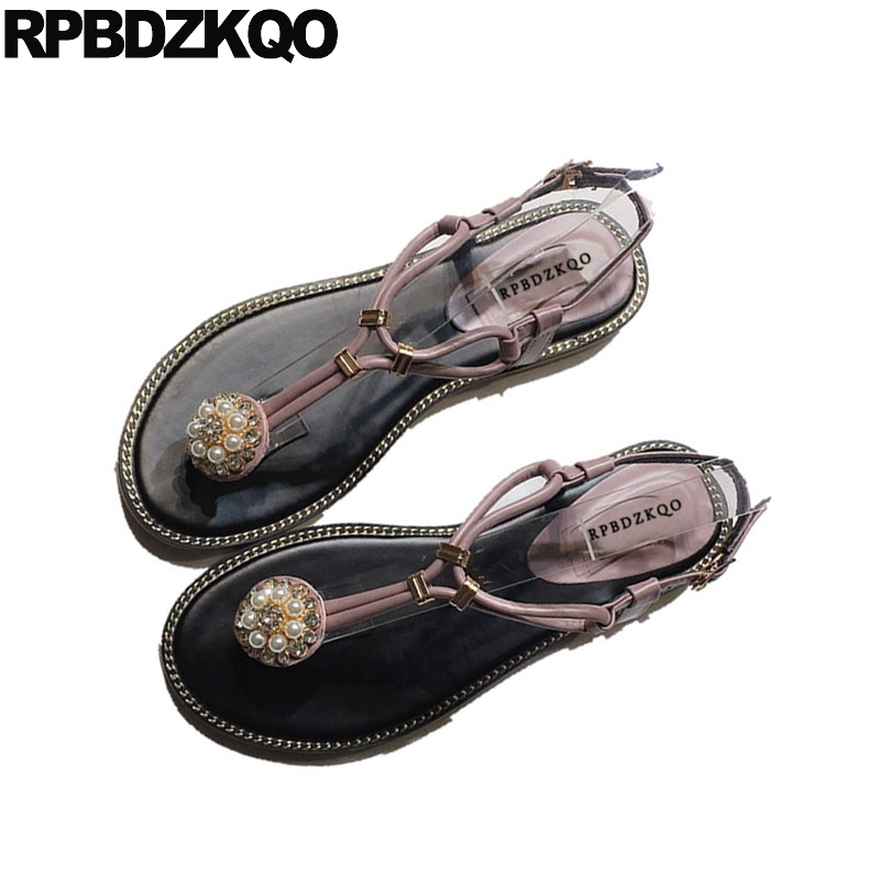Holiday Rhinestone Pearl Jewel Women Crystal Pink Shoes Sandals Leisure  Fashion Bohemia Style Diamond Flat Thong T Strap Nice-in Low Heels from  Shoes on ... 19b837350266