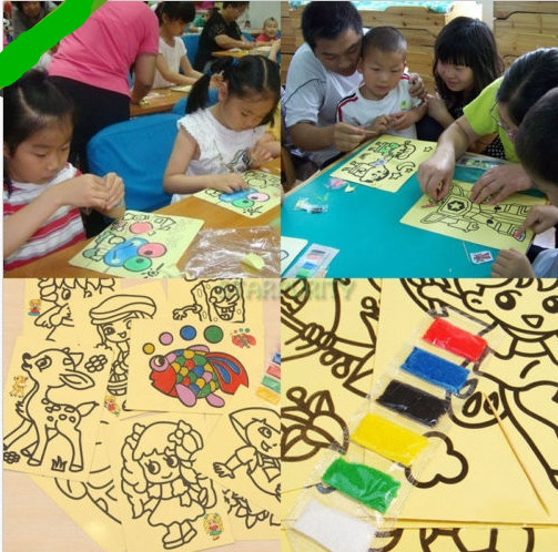 10pcs Cartoon DIY Color Sand Painting 10 kinds of Patterns Kids Intelligence Education Tools Art Drawing Study Fun Toys Gift