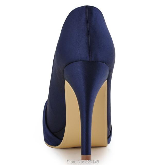 Woman Navy Blue Red High Heel Platform Wedding Shoes Rhinestone Satin Bride Lady Prom Party Bridal Pumps Pink Silver EP2015