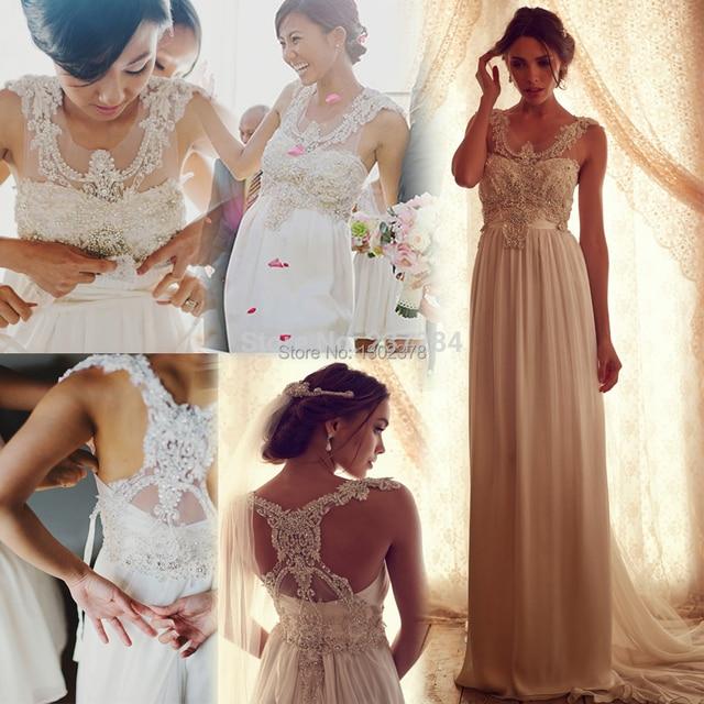 Romantic Anna Campbell Wedding Dress Diamond Beaded Chiffon Vintage ...
