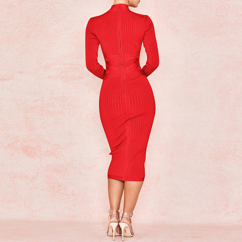 Image 3 - Ocstrade New Arrival 2020 Womens Midi Bandage Dress Red Sexy  High Neck Long Sleeve Bodycon Bandage Dress Rayon Party DressesDresses