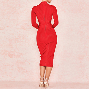 Image 3 - Ocstrade New Arrival 2020 Womens Midi Bandage Dress Red Sexy High Neck Long Sleeve Bodycon Bandage Dress Rayon Party Dresses