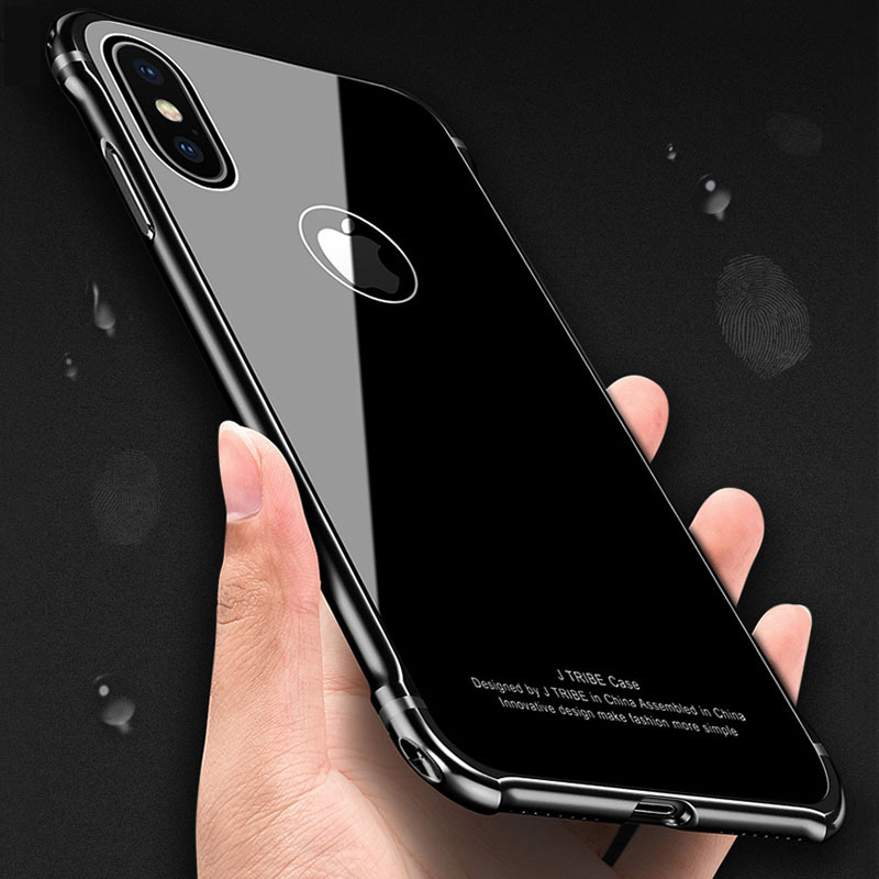 Luxury Hard Metal Frame + 9H Tempered Glass Cover For iphone X 8 7 6 6s Plus Samsung Galaxy Note 8 S8 Plus Case Shockproof Armor
