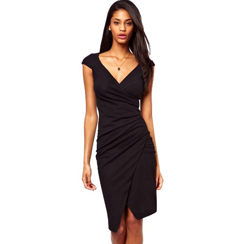 Elegáns bájos térd hosszú ujjú női szexi V nyak Bodycon Club viselet Wrap ceruza ruha alkalmi köpeny fekete ruhák G728  t