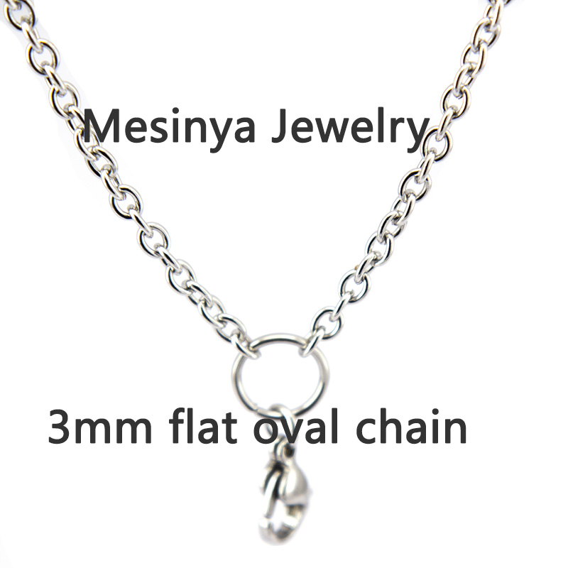 316L Stainless steel 0.8 <font><b>wire</b></font> 3.0mm width 24'' rolo chain for dangle charm floating lanyard <font><b>living</b></font> glass locket 10pcs/lot