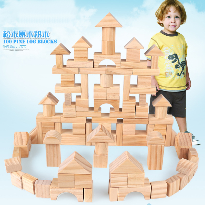 100 Pcs/set Pine Wooden Tower Wood Building Blocks Toy Stacker Assemblage Building Early Educational Game Gift with Retail Box kid s soft montessori wooden mini number house number shape matching blocks toy set early educational gift for kids