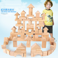 100 Pcs/set Pine Wooden Tower Wood Building Blocks Toy Stacker Assemblage Building Early Educational Game Gift with Retail Box