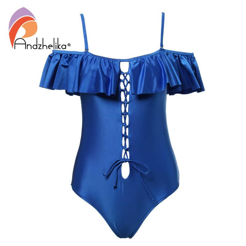 Andzhelika 2018 kobiety Sexy One Piece bandaż strój kąpielowy wzburzyć słowo ramię stroje kąpielowe Hollow Out body strój kąpielowy Monokini