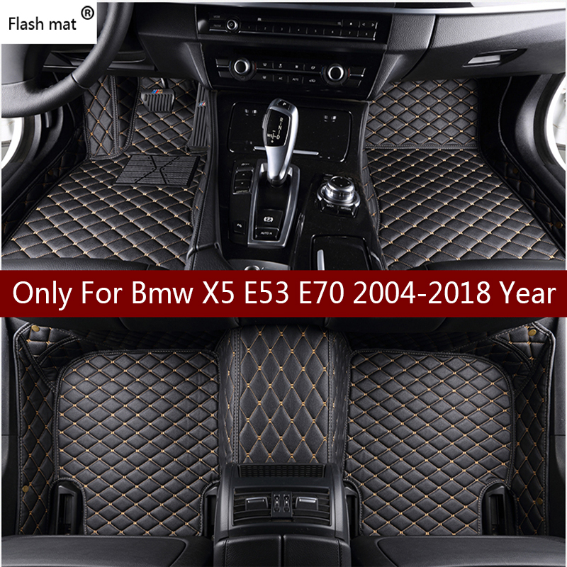 Flash Mat Leather Car Floor Mats For Bmw X5 E53 E70 2004-2013 2014- 2016 2017 2018 Custom Auto Foot Pads Automobile Carpet Cover(China)