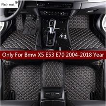 פלאש מחצלת עור רכב רצפת מחצלות עבור Bmw X5 E53 E70 2004 2013 2014  2016 2017 2018 מותאם אישית אוטומטי רגל רפידות רכב שטיח כיסוי