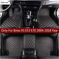 Esteira do flash tapetes de couro do carro para bmw x5 e53 e70 2004-2013 2014-2016 2017 2018 personalizado almofadas pé automóvel tapete capa