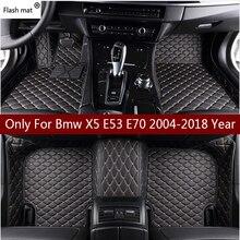 Flaş mat deri araba paspaslar Bmw X5 E53 E70 2004 2013 2014 2016 2017 2018 özel otomatik ayak pedleri otomobil halı kapak