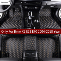 Flash mat leather car floor mats for Bmw X5 E53 E70 2004 2013 2014 2016 2017 2018 Custom auto foot Pads automobile carpet cover