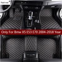 Flash mat leather car floor mats for Bmw X5 E53 E70 2004 2013 2014 2016 2017 2018 Custom auto foot Pads automobile carpet cover