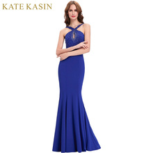 Robe de Soiree Sirene Mermaid Evening Dresses Long Royal Blue Party Dresses with Beading 2017 Prom Gown Women Formal Dress 0111