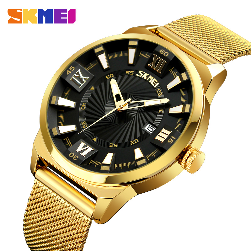 SKMEI Fashion Men's Quartz Watches Luxury Business Gold Watch Stainless Steel Waterproof Wristwatches Male Relogio Masculino