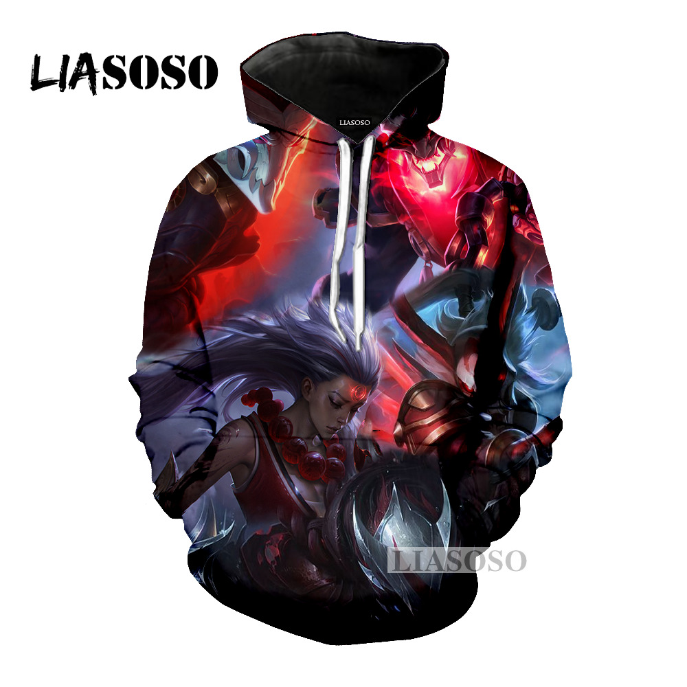 LIASOSO latest fashion hooded animation game life hooded men and women 3D color printing hoodie fashion top brand clothing M026