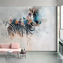 Hand painted watercolor zebra flower wall professional production mural wholesale wallpaper poster photo