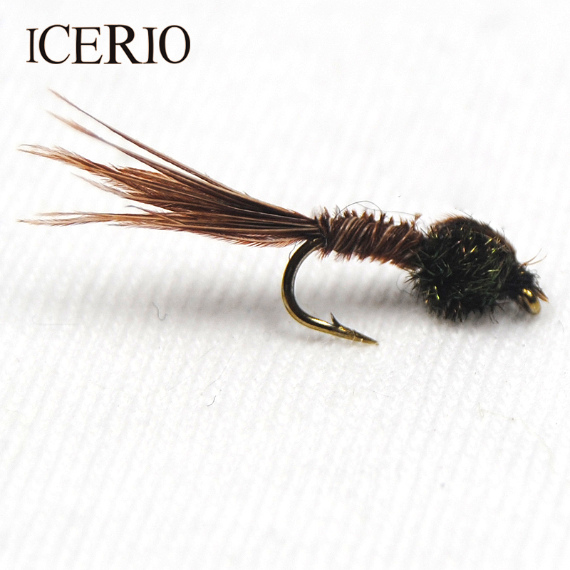 ICERIO 10PCS Natural Pheasant Tail Nymph Trout Fly Fishing Bait #14 12pcs 14 red tail bead head buzzer nymph fly for trout fishing lures