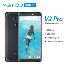 """Global Version Vernee V2 Pro Waterproof 5.99"""" Mobile Rugged Cellphone 6+64GB Android 8.1 NFC Smartphone 6200mAh Quick Charge"""