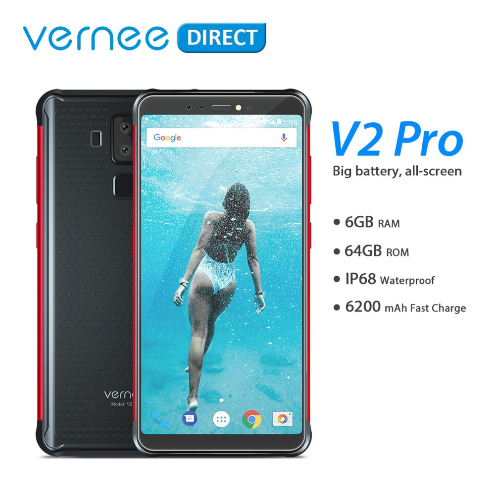 Mondial Version Vernee V2 Pro Étanche 5.99 ''Mobile Robuste Téléphone Portable 6 + 64 gb Android 8.1 NFC Smartphone 6200 mah Charge Rapide