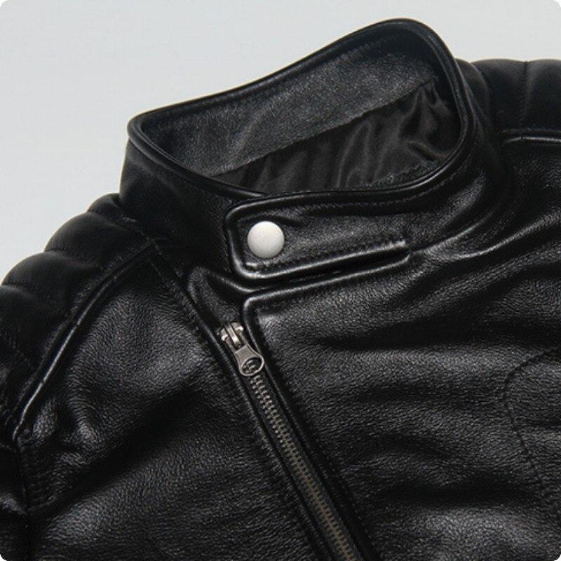 Moto Vache Hommes De Black Véritable Vêtements En Jaqueta 100 Fermeture Col Réel Masculina Manteau Éclair Couro Cuir Courts Mâle Stand Slim qq5PnCr