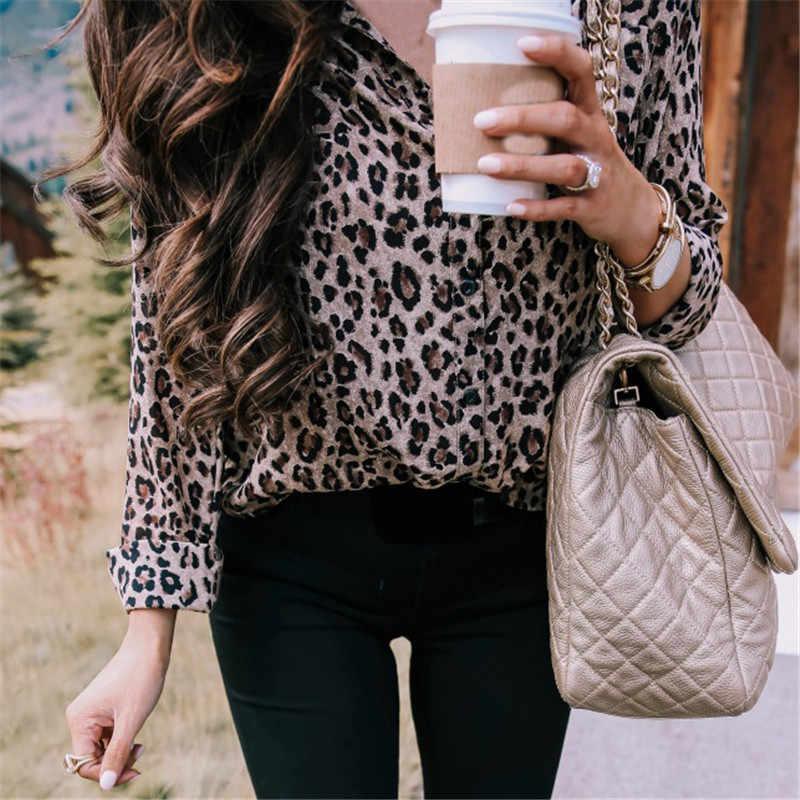 Блузка с леопардовым принтом, рубашка женская, длинный рукав, v-образный вырез, рубашка 2019, весна-лето, модные повседневные женские топы на пуговицах, свободная одежда