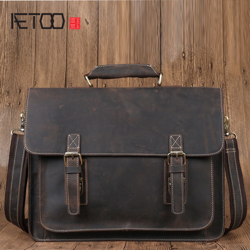 AETOO men handbags Europe and the United States first layer of leather men shoulder bag leather men bag new europe and the united states fashion oil wax head layer of leather portable retro shoulder bag heart shaped color embossed h
