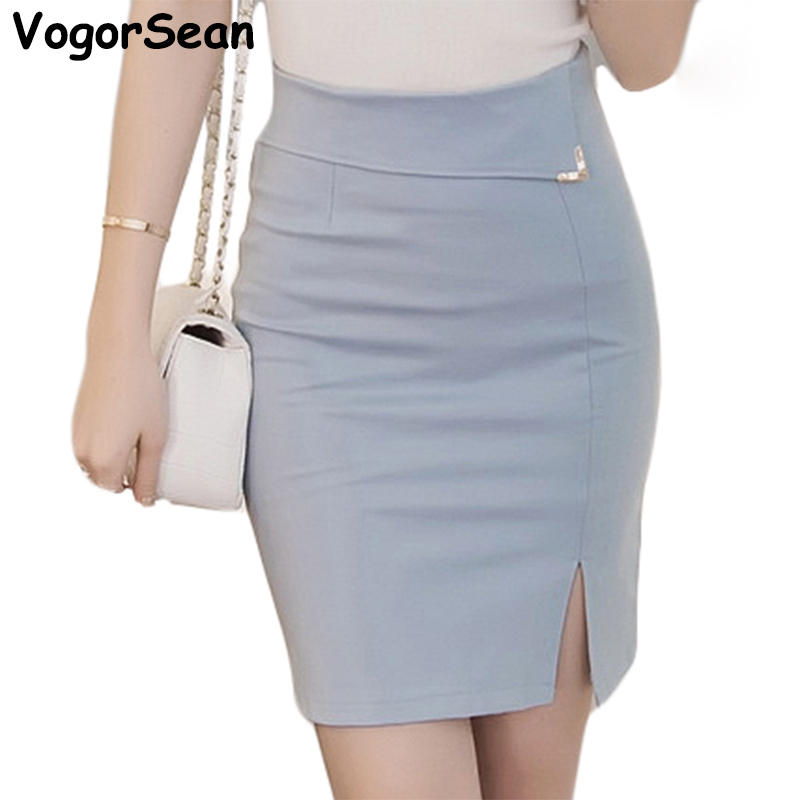 VogorSean Summer Womens Skirt Hem Cross Fold Sexy Wrap Banded Waist Draped New Cut Out Slim Pencil Skirts Jupe For Work OL Lady