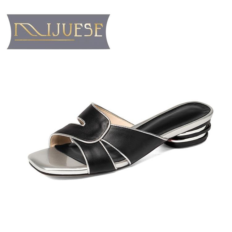 MLJUESE 2018 women sandals Genuine leather slip on Black color autumn spring high heels slippers slides