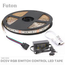 5m DC5V Key Switch Controlled RGB LED Strip With Adapter Waterproof Flexible SMD5050 LED Light For Backlight Wardrobe Lightning