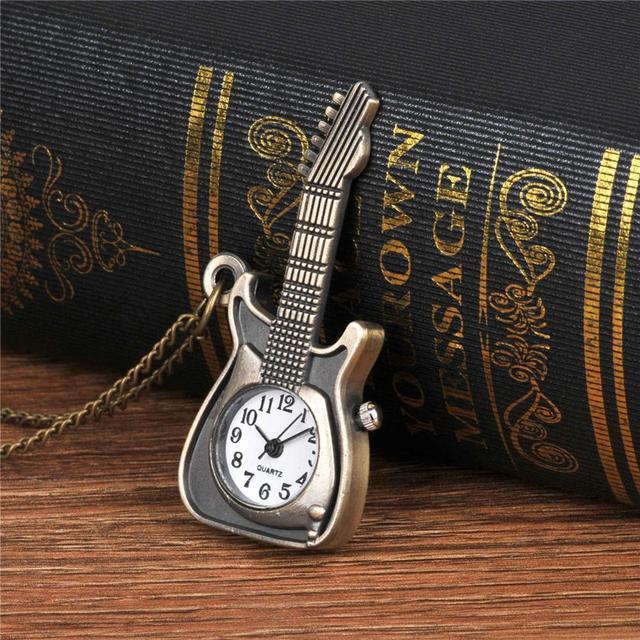 Classical Vintage Good Quality Watches Classical Bronze Tone Cool Fashion Necklace Quartz Guitar Pocket Watch