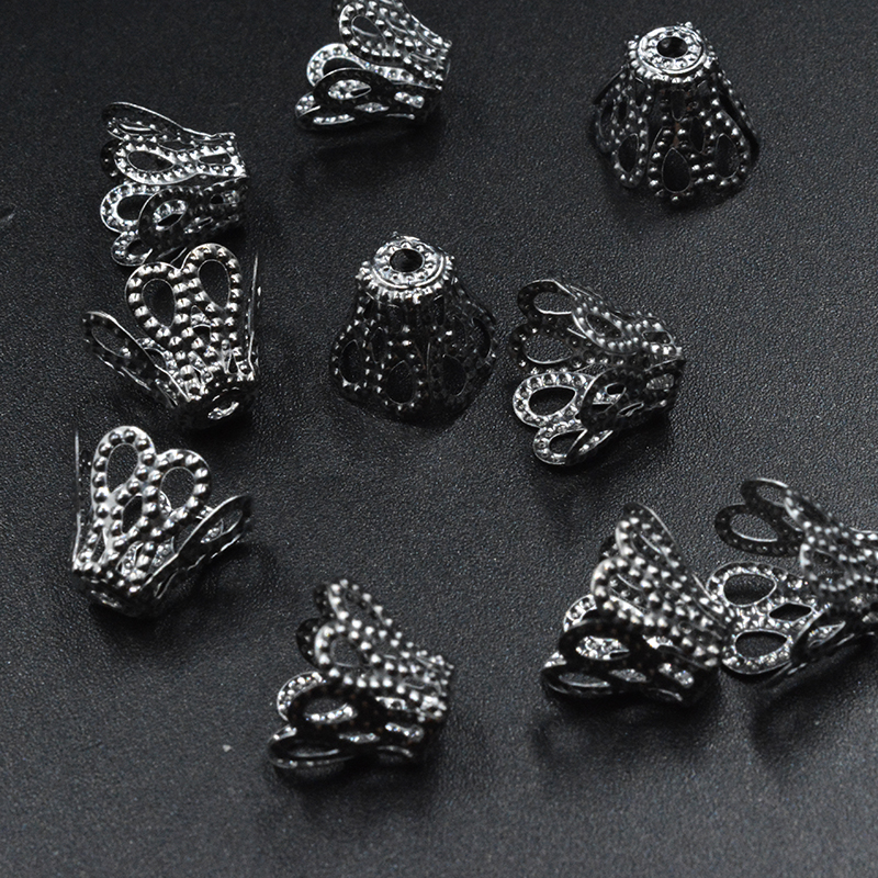 12 x Filigree Bead Caps 18mm Leaf Shape Jewellery Making Silver Plated