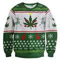 3D Nuevo Llega la Navidad Ciervos Sudadera Impreso Cáñamo Weed Leaf Hoodies Hombres Mujeres Casual Divertido Jerseys Camisetas Tops Ropa