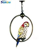 SGROW Тиффани попугай абажур подвесной светильник Книги по искусству деко пятнистости Стекло подвесной светильник Освещение в помещении при