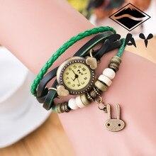 Pulseira rero relógios de pulso das senhoras marca de topo de quartzo das mulheres relógio com pulseira de couro charme coelho e multi plyer T1000014