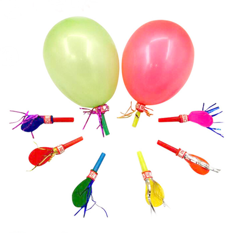 50PCS Funny Colorful Whistle Balloons Party Supplies Noise Maker Birthday Festival Celebrations Kids Baby Children's Sound Toys