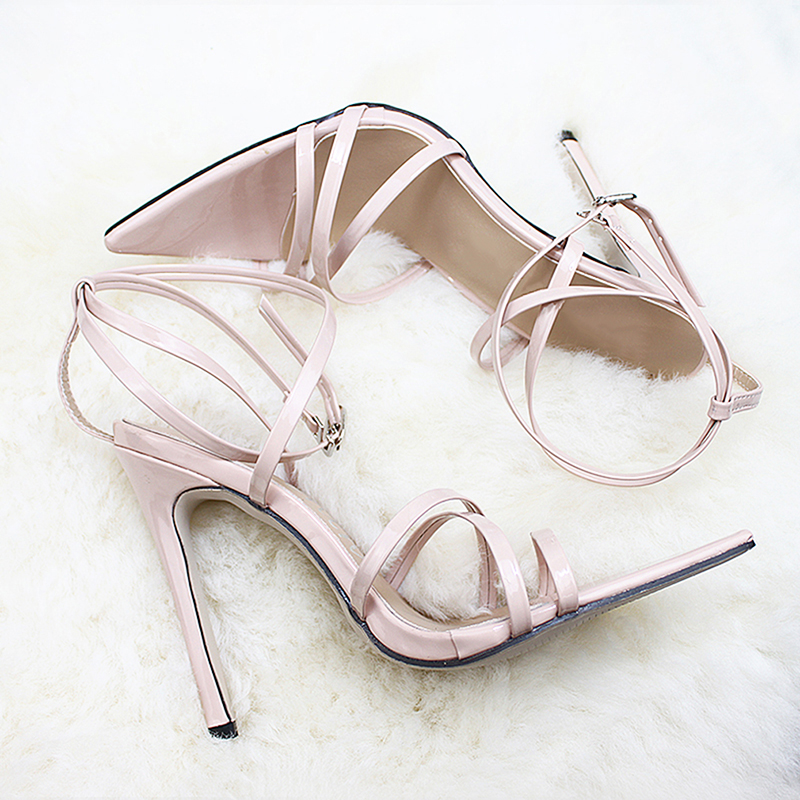 Женские босоножки на очень высоком тонком каблуке 11,5 см; туфли-лодочки с ремешком на щиколотке; женские модельные туфли с острым носком на высоком каблуке; обувь для вечеринок - Цвет: beige