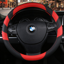 KKYSYELVA Red Steering-wheel Leather Car Steering Wheel cover covers 38cm steering wheels Covers Black wheel