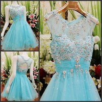 Modest Scoop Neckline A Line Light Blue Beautiful Homecoming Gowns Short Cute 8th Grade Graduation bridesmaid Dresses