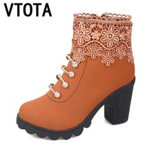 VTOTA Ankle Boots Women High Heels Martin Boots With Thick Autumn Shoes Woman Fashion Lace Rhinestone Botas Feminina Boots H140 vtota fashion autumn women s boots brand designers ankle boots for women shoes woman canvas bota feminina flat with boots x305