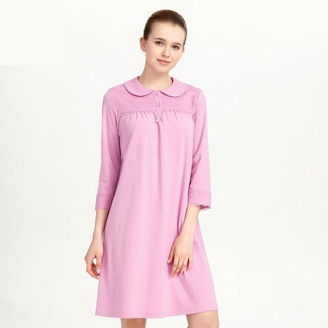 CILER Women 100% Cotton Sleepwear Loose Nightwear Turn-down Collar Lace Nightgowns Sleepshirt Sleeping Shirt Dress pijama