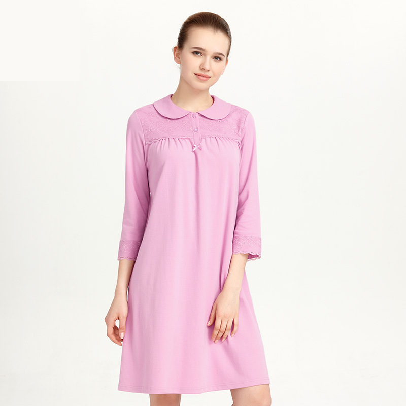 CILER Women 100% Cotton Sleepwear Loose Nightwear Turn-down Collar Lace   Nightgowns     Sleepshirt   Sleeping Shirt Dress pijama