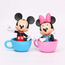 New 2pcs Mickey Mouse Minnie Mouse Daisy Dolls PVC Action Figures Anime Figurines Kids Toys for Boys Girls Cake Toppers Collect