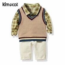 Kimocat Baby Boy Clothes Boys Spring and Autumn Knit Vest+Shirt+Long Three-Piece Set Newborn Clothes Infant Boys Clothing Set цена 2017