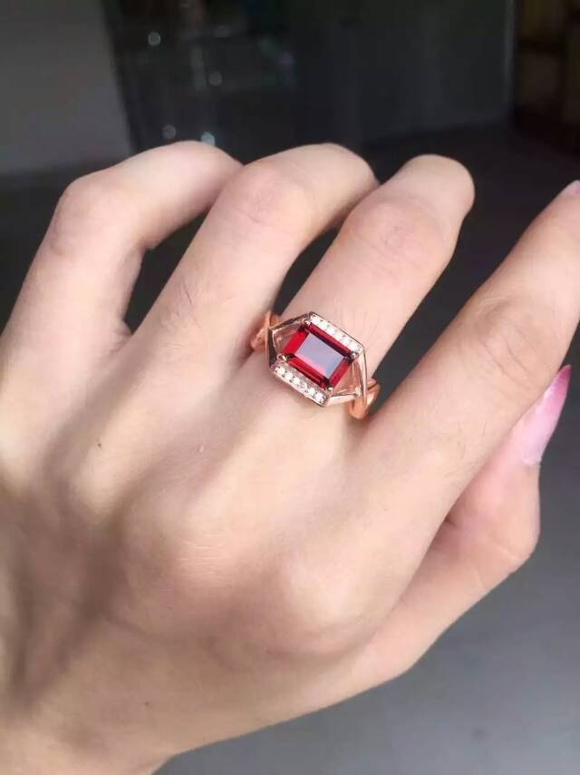 Natural red garnet gem Ring Natural gemstone ring S925 sterling silver trendy Elegant cross Square women wedding party Jewelry
