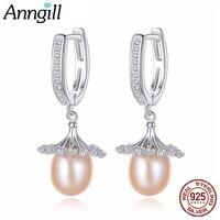 ANNGILL High Quality Freshwater Pearl Earrings 925 Silver Flowers Drop Earings For Women Hot Sale Wedding