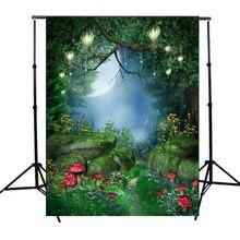 5x7ft Conte de Fées Monde Vert Forêt Photographie Fond Pour Studio Photo Soutiens vinyle Photographique Décors 1.5×2.1 m