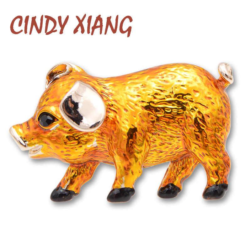 Cindy Xiang 3 Warna Tersedia Enamel Babi Kecil Bros Hidup Fashion Hewan Pin Desain Baru Anak Perhiasan Mantel Aksesoris Hadiah